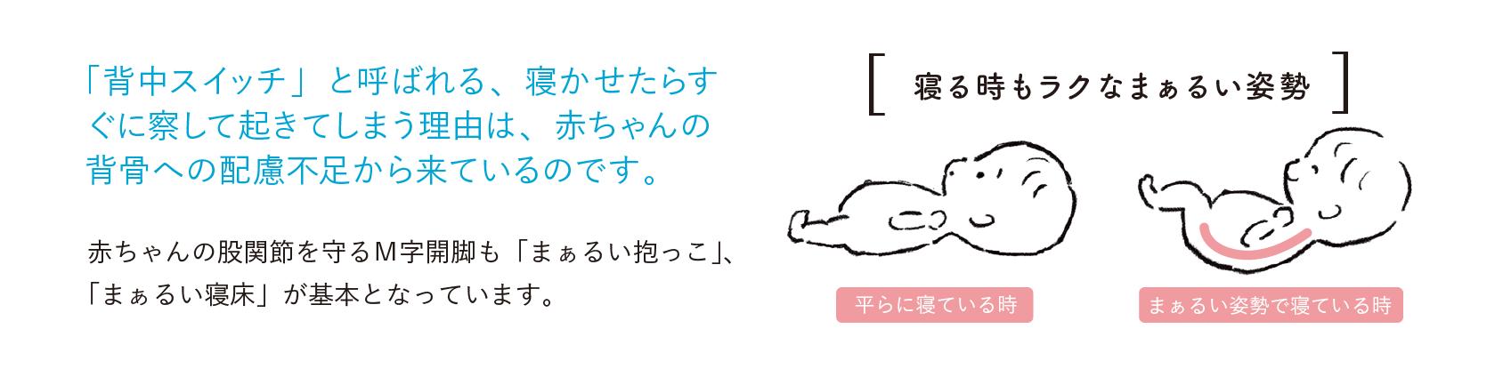 「背中スイッチ」と呼ばれる、寝かせたらすぐに察して起きてしまう理由は、赤ちゃんの背骨への配慮不足から来ているのです。 赤ちゃんの股関節を守るM字開脚も「まぁるい抱っこ」、「まぁるい寝床」が基本となっています。[寝る時もラクなまぁるい姿勢]平らに寝ている時 まぁるい姿勢で寝ている時